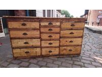 STUNNING ANTIQUE CLOCK / WATCH MAKERS WORKTOP BENCH CHEST OF DRAWERS RUSTIC STORAGE COUNTRY HOME GC