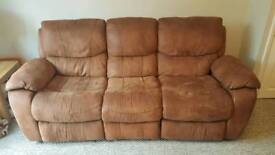 Brown 4 seater recliner