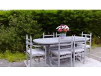 REDUCED! Large, Vintage Extending Dining Table & 6 Chairs. Paris Grey, Shabby Chic. Can Deliver.