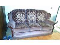 3 Seat Settee Traditional style wood frame show mushroom beige