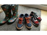 Clarks boys bundle of trainers/wellies/boots