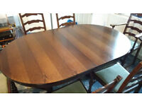 Dining Table and 6 Chairs - dark wood, extendable