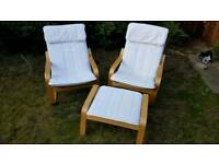 Ikea Poang Chairs and Footstool in White