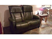Compact 3 piece leather suite