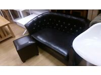 Childrens brown leather sofa and stool