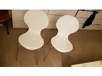 2x House by John Lewis Curve Dining Chair , White Stackable comfy sturdy