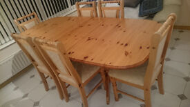 pine effect wooden dining table with 6 chairs extendable sherwood nottingham ng5