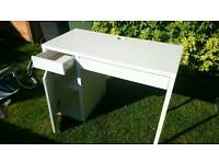 White Ikea desk with drawer and cupboard