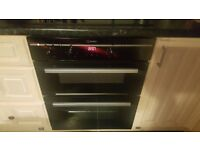 Black gloss digital hob with double oven