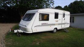 ELDDIS TYPHOON GTS XL 2000 4 BERTH CARAVAN WITH AWNING NICE CLEAN CARAVAN