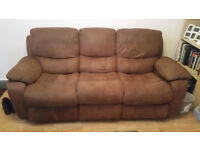 Free Brown Suede Style Reclining Sofa - Great for FREE!!!