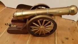 solid brass and oak cannon