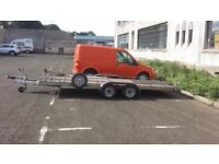 16ft flatbed trailer twin axle car transporter with winch and Tire rack