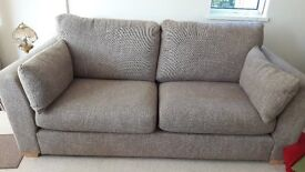 Large, comfortable dark oatmeal settee in vgc from non smoking household