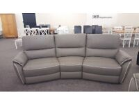 Ex Display ScS Teo Grey Leather White Beading 4 Seater Curved Sofa Can Deliver View Hucknall Nottm