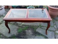 Mahogany Coffee / Occasional Table in Excellent Condition With Toughened Brass Edged Glass Panels