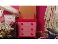 Ikea red and pink chest of drawers