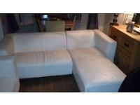 Cream leather L shape sofa and chair