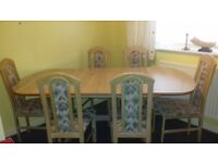 light wood oval extendable dining table and 6 chairs.