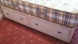 Double divan bed base with drawers. Delivery available