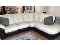 white leatherCorner sofa