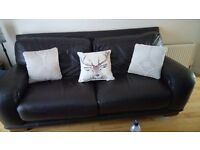 Italian leather dark brown 3 & 2 seater couches sofas