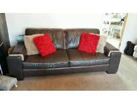 Brown italian leather large sofas dfs x 2