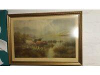 Large Vintage Sunrise On Loch Katrine Print 1875-1902