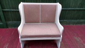 Upholstered 2 seater settle / bench.