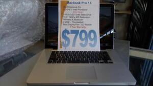 Macbook Pro 15 - i7 Intel - 256Gb Solid State Drive - 8Gb RAM - 1 Year Warranty (16Gb RAM and bigger SSD available).