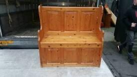 Pine wood monks bench