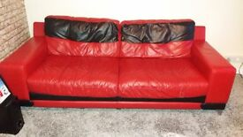 Dfs red abd black leather settee