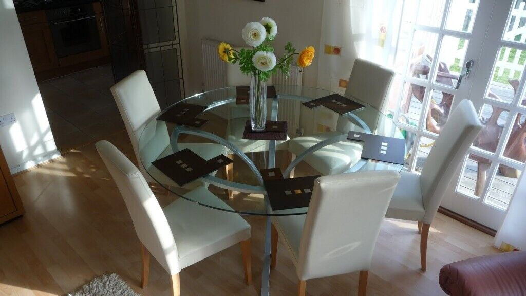 Awesome Round Glass Table 5 Feet Diameter 6 Real Leather Chairs In Cirencester Gloucestershire Gumtree Download Free Architecture Designs Scobabritishbridgeorg