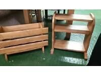 Light oak three tier shelf with rustic magazine rack