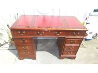 red leather top writing desk good condition with keys