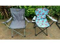 TWO FOLDING CAMPING CHAIRS CARAVAN MOTOR HOME TENT BEACH