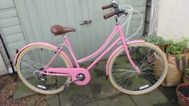 Ladies Bobbin Metropole Bicycle in baby Pink