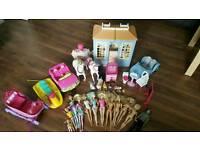 Barbie dolls, vintage house, cars, dogs, horses