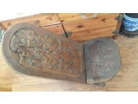 African Solid Hand Carved Wooden Birthing Folding (2 piece) Tribal Chair
