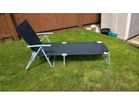 2 Sun Loungers Reclining Garden Chairs for Home Patio