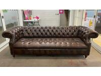 Stunning rare 4 seater leather chesterfield sofa £950