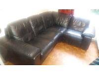 Genuine 100% Leather 4 Seat Corner Sofa Black - Modular Seats (DFS Linea Corner Group) - Bargin!