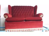 Vintage Retro Red Funky Sofa & Chairs