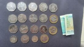 Rare Coins or for a collector. something you want or need beatrix potter 50p coins Ak47 £5 Note