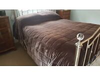 Bed throw. Lovely, velvety rich brown cover. Ideal for beds or a sofa.