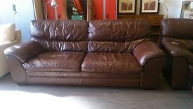 Leather sofa with armchair and pouffe