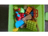Wooden train set and lego duplo