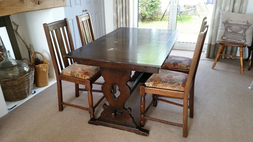 Large Old Farmhouse Dining Table And 4 Chairs Ideal Upcycling Project
