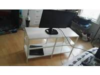 white TV cabinet with lg TV included