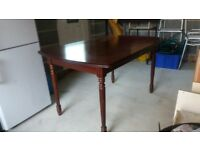 Large Extendable Cherry Wood Dining Table and 6 Chairs